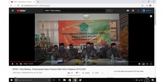 MTsN 1 Kota Malang Sampaikan Rapor Siswa Secara Daring