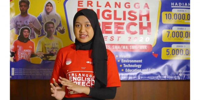 Siswi MTsN 1 Kota Malang Tampil di Final Erlangga English Speech Contest Tingkat Nasional