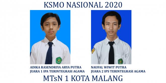 Dua Siswa MTsN 1 Kota Malang Raih Juara KSMO Nasional 2020