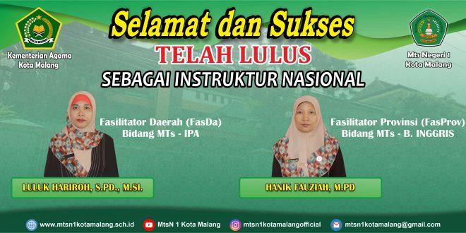 Dua Guru MTsN 1 Kota Malang Lulus Seleksi Instruktur Nasional