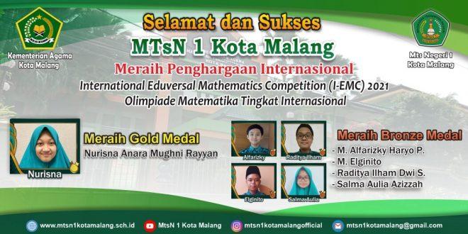 Bersaing dengan 53 Negara, Siswa MTsN 1 Kota Malang Sukses Raih 5 Medali I-EMC 2021