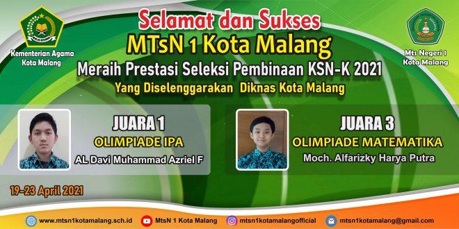 Siswa MTsN 1 Kota Malang Raih Dua Juara Seleksi Pembinaan KSN-K 2021