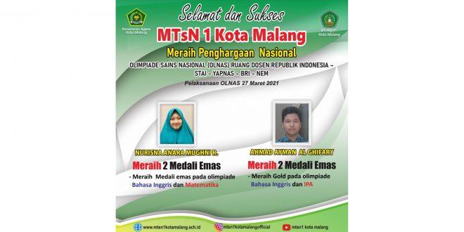 Dua Siswa MTsN 1 Kota Malang Raih Empat Medali Emas OLNAS 2021