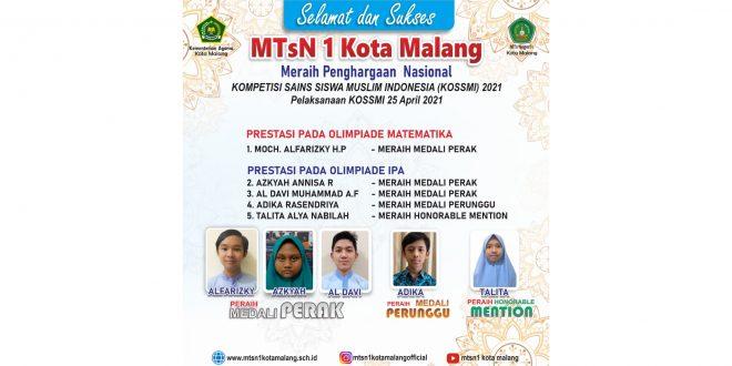 Siswa MTsN 1 Kota Malang Raih Lima Medali KOSSMI 2021