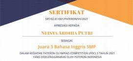 Siswi MTsN 1 Kota Malang Raih Juara 3 Olimpiade Bahasa Inggris Tingkat Nasional