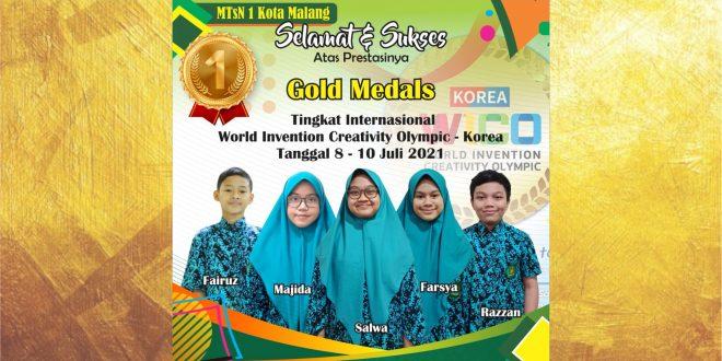 Hebat! Bersaing dengan 25 Negara, Siswa MTsN 1 Kota Malang Sukses Raih Medali Emas WICO 2021