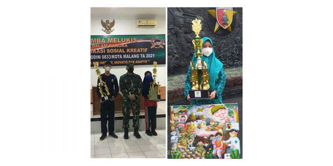 Siswa MTsN 1 Kota Malang Sukses Raih 2 Juara Lomba Melukis Komsos Kreatif Kodim 0833